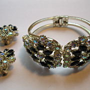 Vintage Aurora Borealis & Black Rhinestone Hinged Bracelet  & Earrings Set