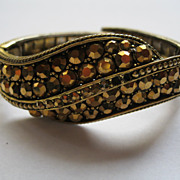 Vintage Signed Weiss Bronze Rhinestone Clamper Bracelet