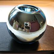Vintage Aqua Mercury Glass Candleholder/Vase--Stamped Czechoslovakia