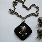 Vintage Selro 1950's Blackamoor Princess Bakelite/Enamel Pendant & Earrings