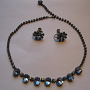 Vintage Weiss Signed Blue Rhinestone Necklace & Earrings Set