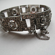 Vintage Art Deco Rhinestone Paste Bracelet  with Safety Chain