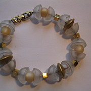 Rare Vintage Napier Frosted Lucite and Gold Color Beaded Bracelet.