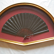 Antique 19th Century Black Sequined Silk Framed Fan