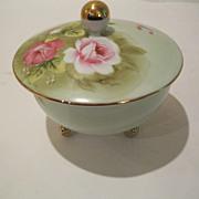 Vintage Marked Hand Painted China Rose Dresser Jar