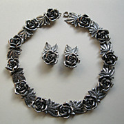 Vintage Peruzzi Signed 800 Silver Rose Necklace and Earrings Set--85 Grams