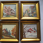 Four Vintage Framed Needlepoint & Petit Point Scenes Depicting the Four Seasons