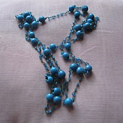 Vintage Long-59 inch-Turquoise Glass Beads