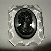 Circa 1930 1940 Mourning Style Black Cameo Pin with Acrylic Carved Frame