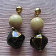 Vintage Signed YSL Yves Saint Laurent Pierced Earrings-Beige and Brown