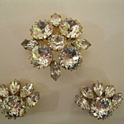Vintage Signed Austria Pin & Clip Earrings Set
