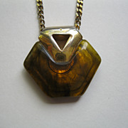Signed 1978 Givenchy Faux Tortoise Pendant Necklace