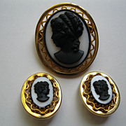 Vintage Black Cameo Pin Broach & Clip Earrings Set
