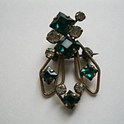 Vintage SIgned STAR-ART 12K G.F. Green & Clear Rhinestone Pin Pendant Combination
