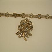 Vintage Crown Trifari Flowered Bracelet & Pin Broach  Clear Rhinestones