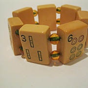 Vintage Butterscotch Bakelite Mahjong Tile & Glass Bead Bracelet