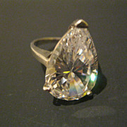 Vintage 1980's Large Pear Shaped CZ Set in Sterling Silver