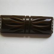 Vintage Chocolate Brown Bakelite Bar Pin Broach Deeply Carved