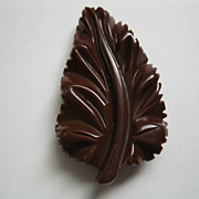 Vintage Chocolate Brown Bakelite Leaf fur Dress Clip