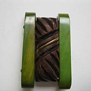 Vintage Green & Brown Bakelite Fur Dress Clip