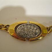 Signed 1979 Givenchy Rhinestone & Gold Tone Metal Necklace