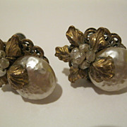 Vintage Signed Miriam Haskell Faux Baroque Pearl Earrings