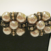 Vintage Signed Miriam Haskell Faux Baroque Pearl & Rhinestone Earrings