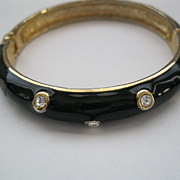 Vintage Black Enamel Hinged Bangle Bracelet
