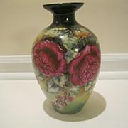 Vintage Rose Motif Porcelain Vase Signed Miller