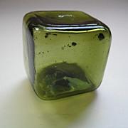 Rare Vintage Square Green Fish Float