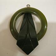 Vintage Bakelite Green Leaf Pendant