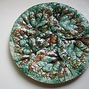Antique Etruscan Griffin Hill Smith Majolica Begonia Leaf Plate