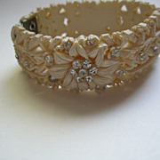 Vintage Floral Off White Celluloid Clamper Bracelet