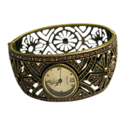 Signed Heidi Daus Art Deco Style Hinged Cuff Bracelet Watch