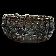 Vintage Signed Schreiner Topaz Smoke Black & Blue Rhinestone Bracelet
