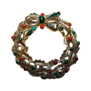Vintage Signed Gerry's Christmas Tree Wreath Pin Broach