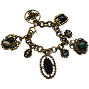 Vintage Etruscan Revival Chunky Gold Tone Metal Charm Bracelet