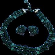 Vintage Signed Lisner Green Crystal Necklace & Clip Earrings Set