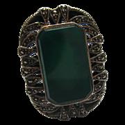 Vintage Large Sterling Silver & Marcasite Ring Signed LL Sz 8