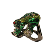 Signed Large Kenneth J Lane Jeweled Frog Ring Sz 7