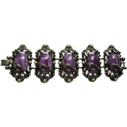 Vintage Wide Selro Bracelet with Purple Marbleized Cabochons