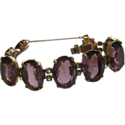 Vintage Amethyst Colored Stone Bracelet Set in Gold Tone Metal