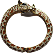 Vintage Signed Kenneth Jay Lane Gold Plated & Enamel Giraffe Bangle Bracelet Watch