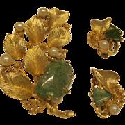 Vintage Signed Lisner Pin Broach Clip Earrings Set