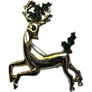 Vintage Signed Gerry's Christmas Reindeer Pin Broach