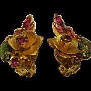 Vintage Pink Dragons Breath & Rhinestone Flower Clip Earrings