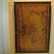 "Large Vintage Hand Painted Wall Hanging--Outsider Art-34.5""  x 49"""