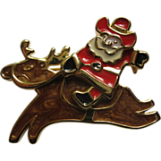 Signed Edgar Berebi Enamel Santa Riding Reindeer Pin Broach
