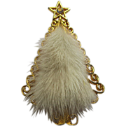 Signed Tancer II Mink 1960's Christmas Tree Pin Broach Book Piece