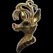 Vintage Signed Tancer II Reindeer Head Pin Broach